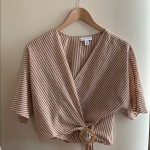 Topshop Striped Buckle Wrap Top, Size 4